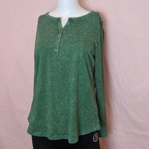 Coldwater Creek Green Button Front Tee